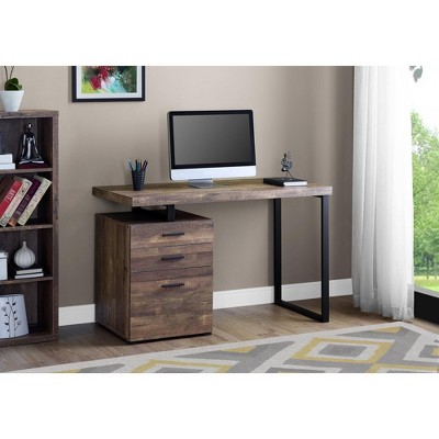 "Monarch Specialties Computer Desk with File Cabinet, Left or Right Set- Up, 48"" L, Brown Reclaimed Wood Look"