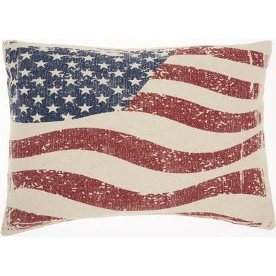 "14""x20"" Life Styles Wavy American Flag Lumbar Throw Pillow - Mina Victory"