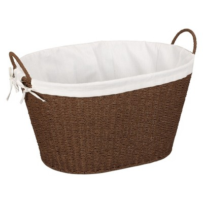 Stained Paper Rope Lined Laundry Basket