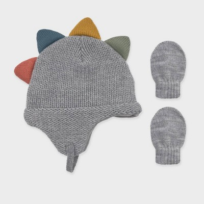 Baby Boys' Knit Dinosaur Beanie and Basic Magic Mittens Set - Cat & Jack™ Gray 0-6M