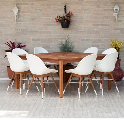 Metz 9pc Square Wood/Resin Patio Dining Set - White - Amazonia