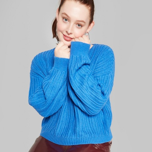 Womens Plus Size V Neck Pullover Sweater Wild Fable Blue 1x Target