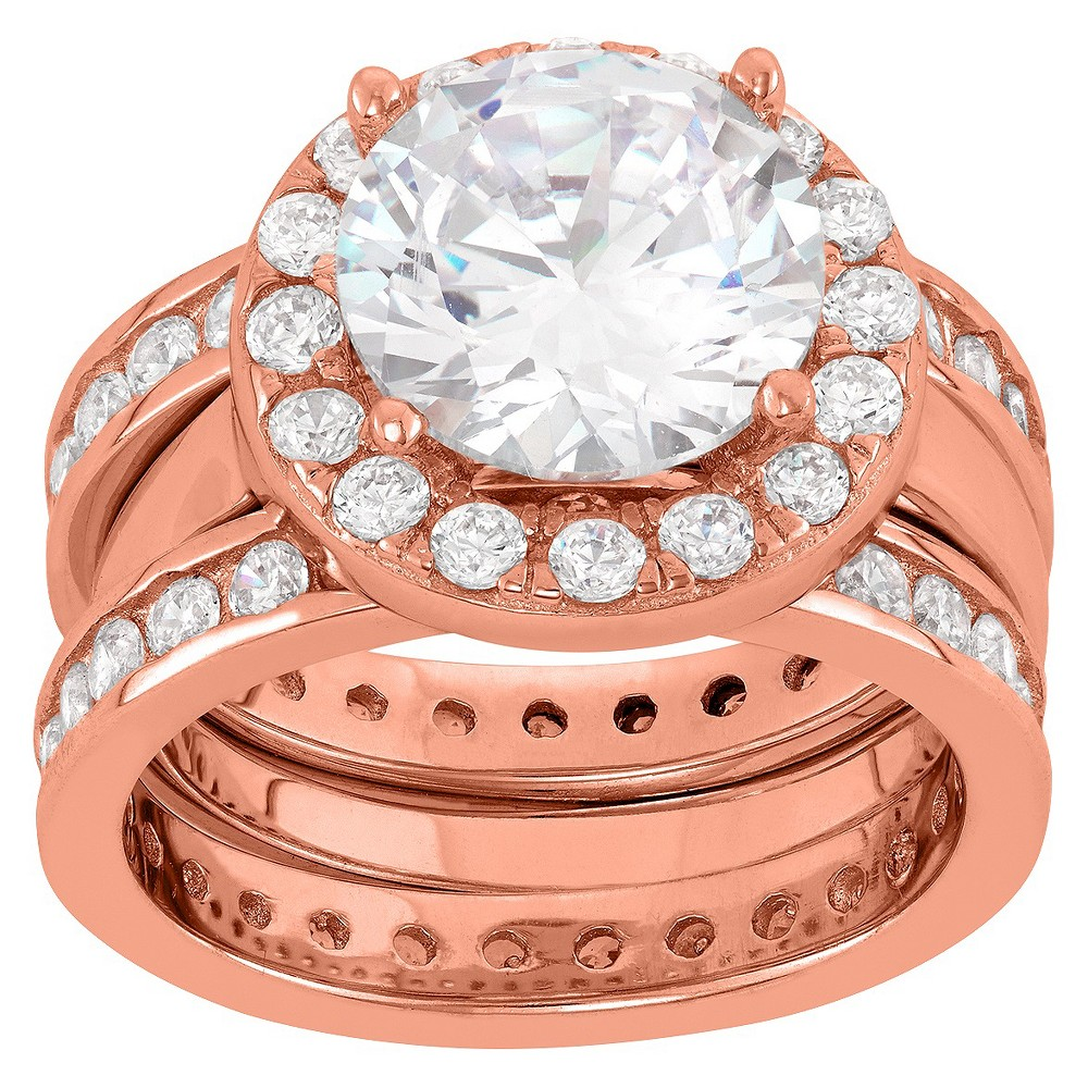 5.87 CT. T.W. Round-Cut 3-Piece Bridal Cubic Zirconia Ring Set In 14K Gold Over Silver - (6), Girl's, Rose