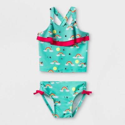 Baby Girls' Rainbow Tankini Swimsuit - Cat & Jack™ Turquoise 9M