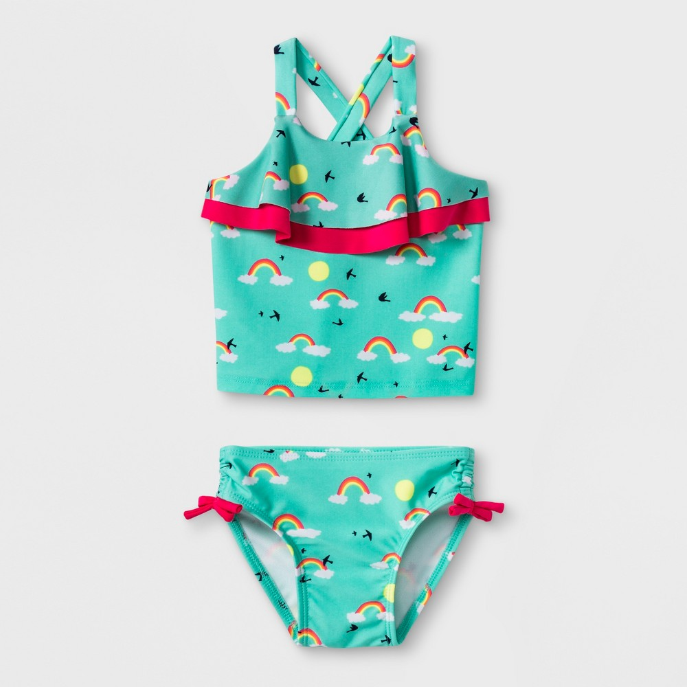 Baby Girls' Rainbow Tankini Swimsuit - Cat & Jack Turquoise 9M, Blue