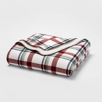 Full/Queen Printed Pattern Flannel & Sherpa Bed Blanket Cream Plaid - Threshold™