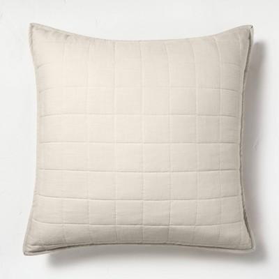 Euro Heavyweight Linen Blend Quilted Pillow Sham Natural - Casaluna™