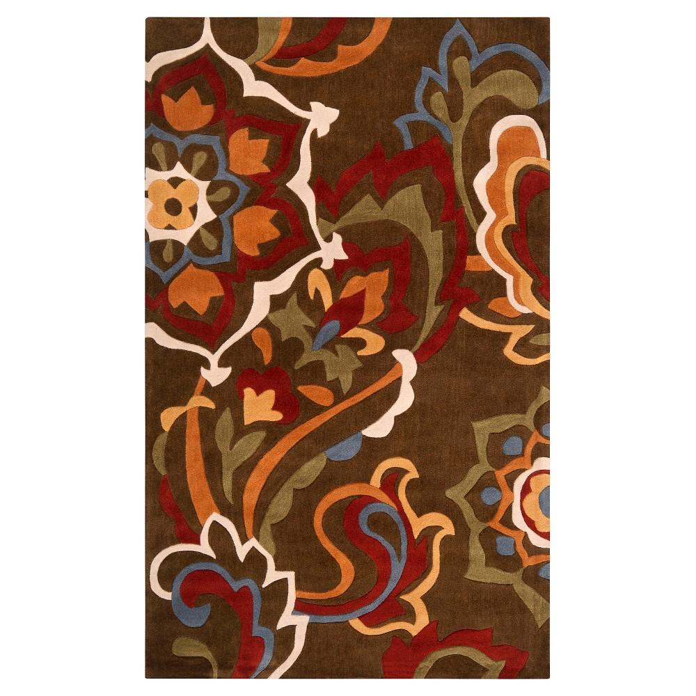 Attalea Area Rug - Dark Brown, Dark Red - (9' x 13') - Surya