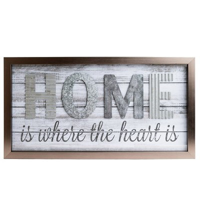 14 x26  Home is Where the Heart is Metal and Wood Plank Wall Art Gray - Patton Wall Decor