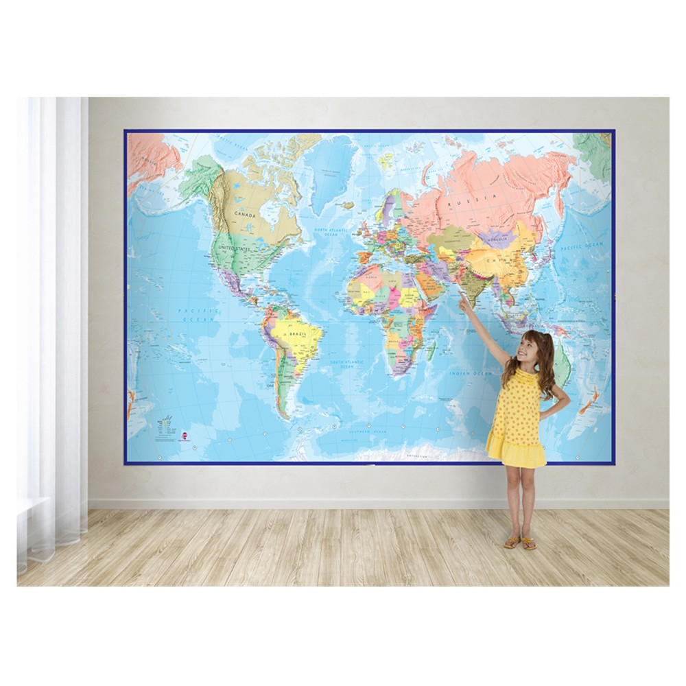 Image of Maps International Giant World Wall Map Mural - Blue