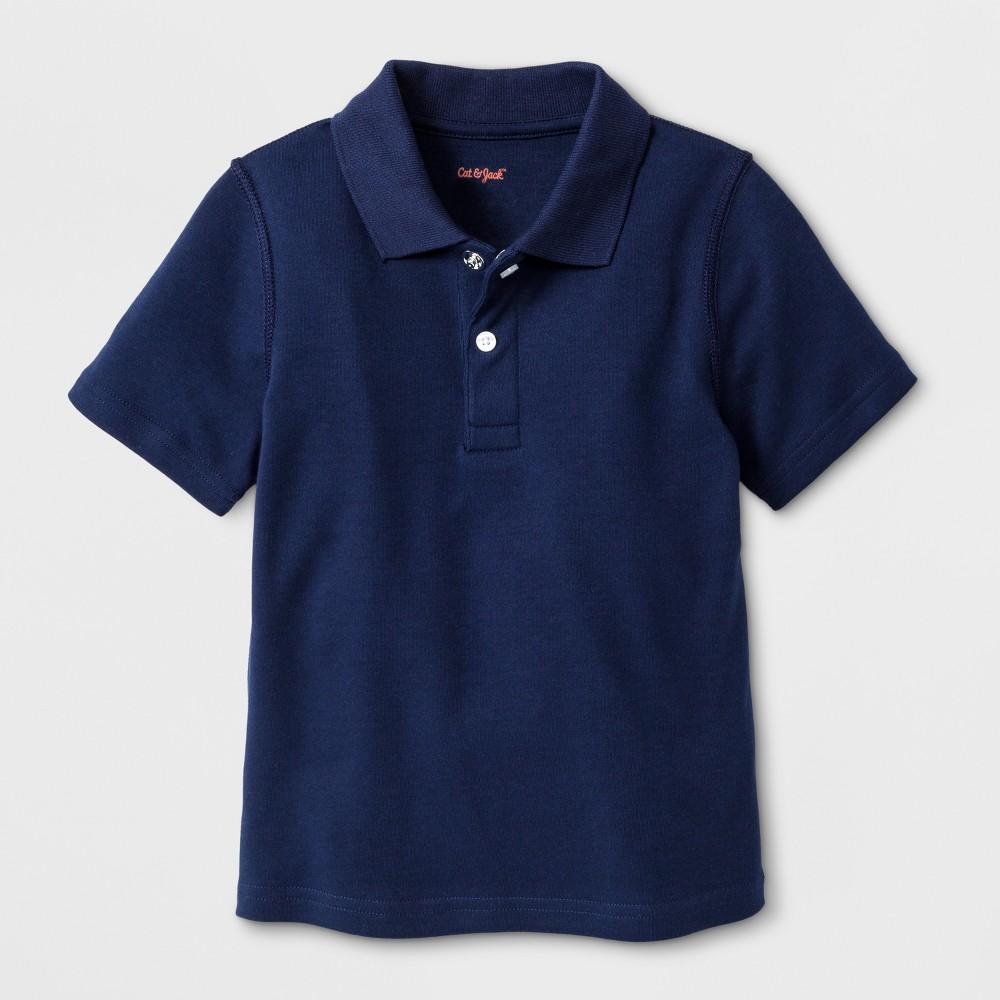 Toddler Boys' Adaptive Short Sleeve Polo Shirt - Cat & Jack Navy 2T, Blue