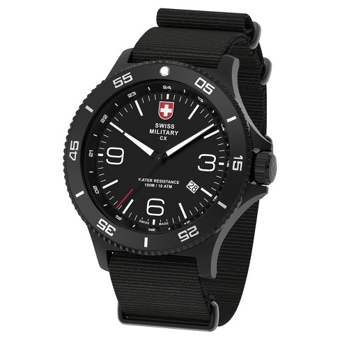 Men's Swiss Military by Charmex Infantry black tone nato band watch - Black - image 1 of 2