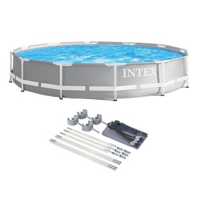 Intex 26710EH Prism 12ft x 30in Metal Frame Outdoor Above Ground Round Swimming Pool with Protective Canopy (Filter Pump Not Included)
