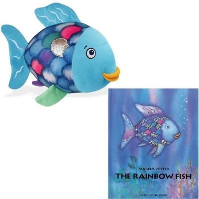Yottoy Rainbow Fish Plush and Hard Back Book Set