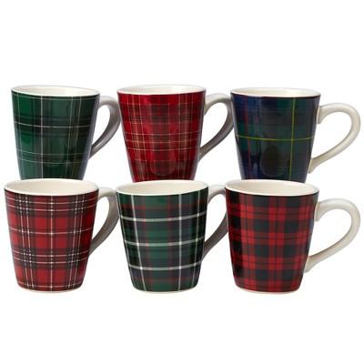 16oz 6pk Christmas Plaid Ceramic Mugs - Certified International