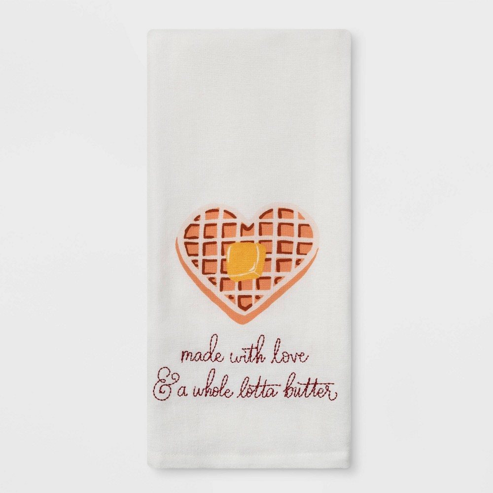Image of Waffle Flat Weave Kitchen Towel, White