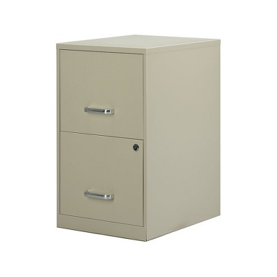 "Staples 2-Drawer Vertical File Cabinet Locking Letter Putty/Beige 18""D 2806662"