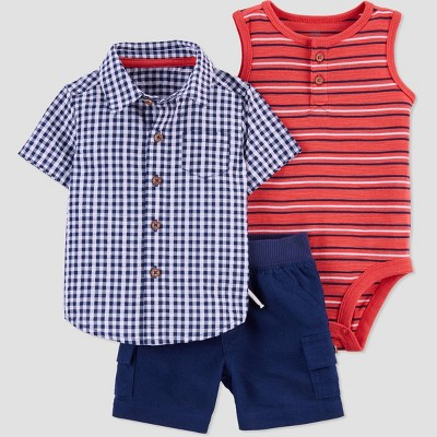 Baby Boys' 3pc Top & Bottom Set - Just One You® made by carter's Red/Navy