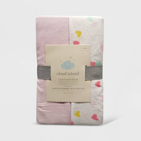 Crib Fitted Sheets Hearts and Pink Solid - Cloud Island™ Pink 2pk - image 1 of 2