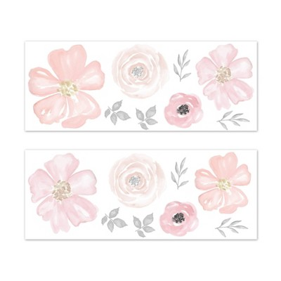 Watercolor Floral LG Wall Stickers Pink - Sweet Jojo Designs