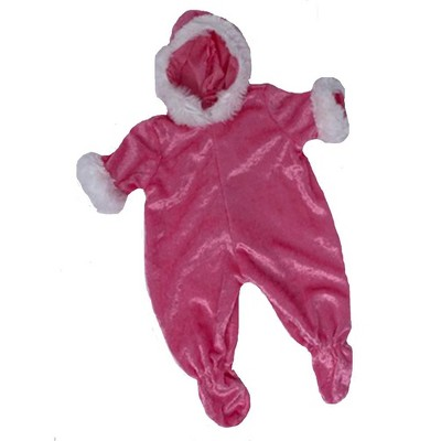 Doll Clothes Superstore Pink Velour Snowsuit Fits 15 Inch Baby Dolls