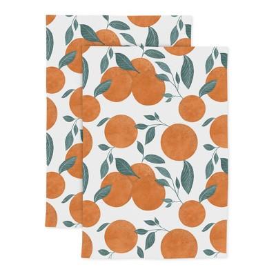 2pk Cotton Designer Orange Tree Kitchen Towels - MU Kitchen