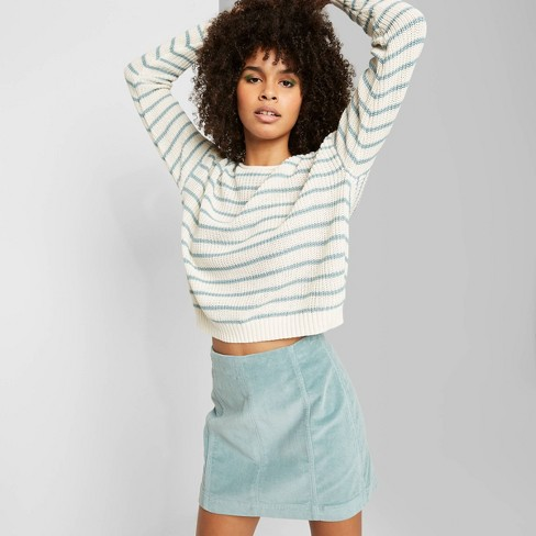 Women's Striped Long Sleeve Crewneck Sweater - Wild Fable™ Ivory/Teal Blush - image 1 of 3