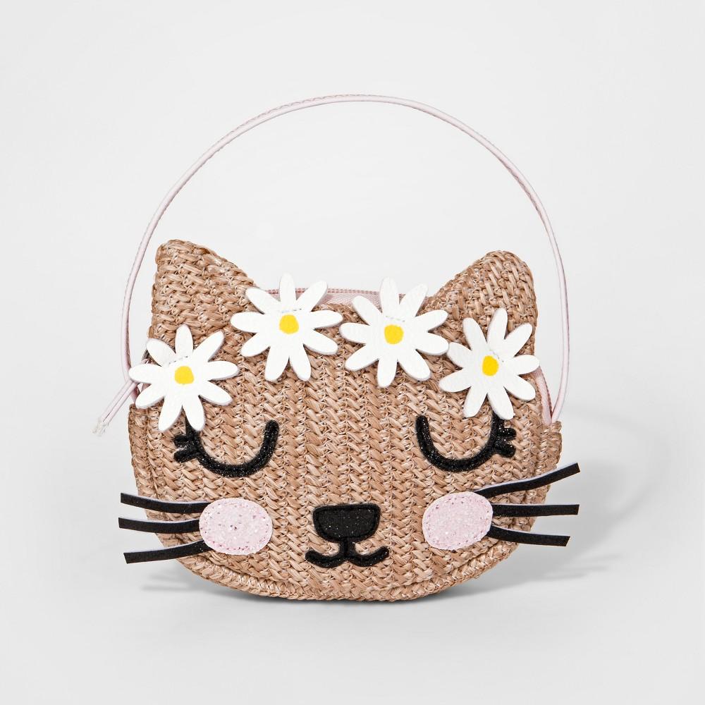 Toddler Girls' Straw Cat Satchel Handbag - Cat & Jack Tan, Natural