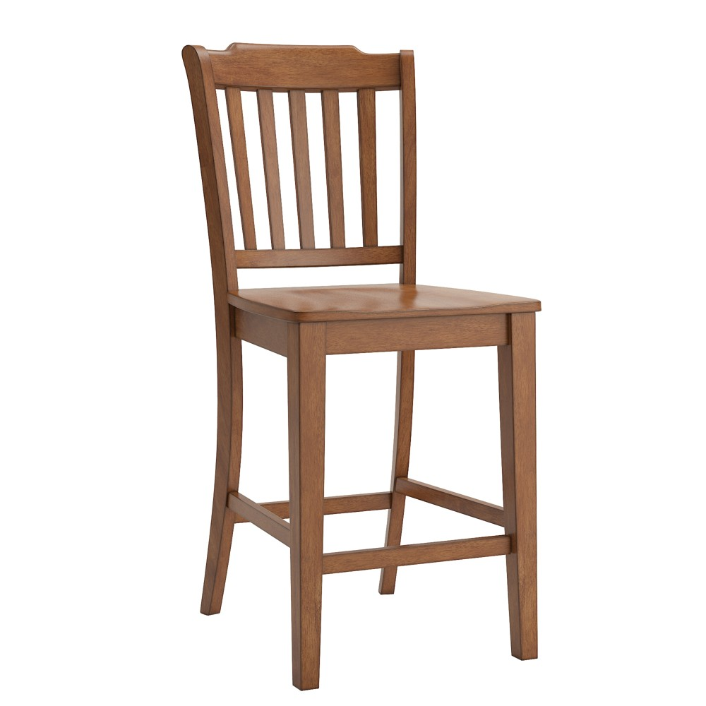 South Hill Slat Back 24 In Counter Chair Set Of 2 Oak