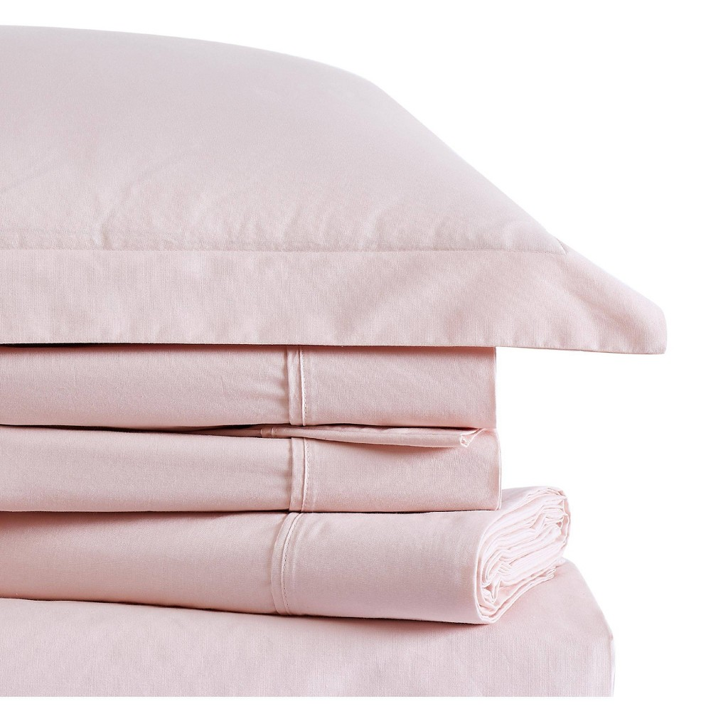 Image of Twin Classic Cotton Solid Sheet Set Blush - Brooklyn Loom