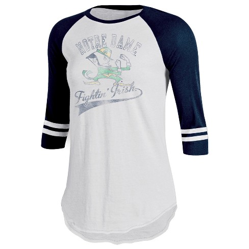 Notre Dame Fighting Irish Women s Retro Tailgate White 3 4 Sleeve T-Shirt 7b39c8462