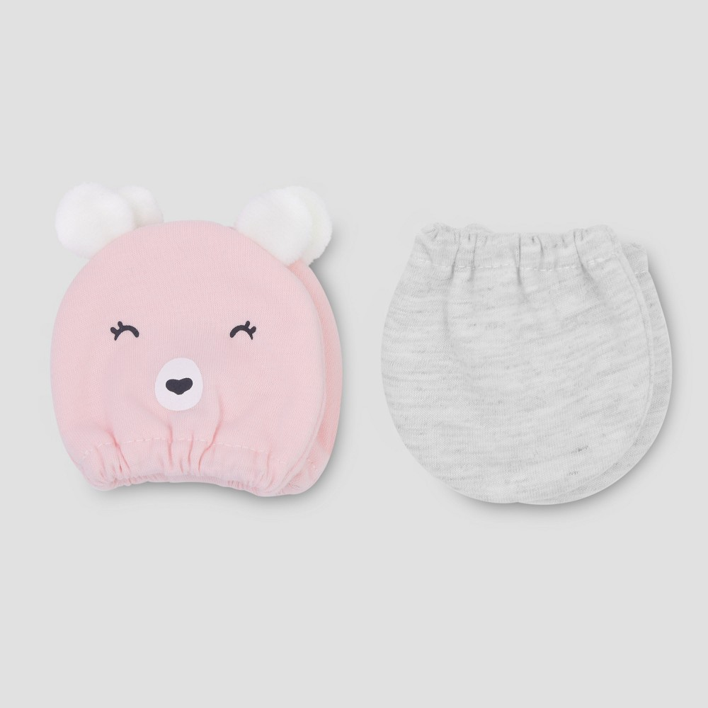 Baby Girls' 2pk Bear Mittens - Just One You made by carter's Pink NB, Size: Newborn