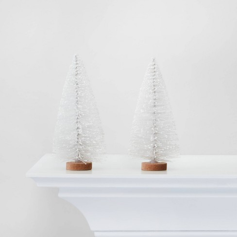 2pc Bottle Brush Trees Decorative Figurine White - Wondershop™ - image 1 of 3