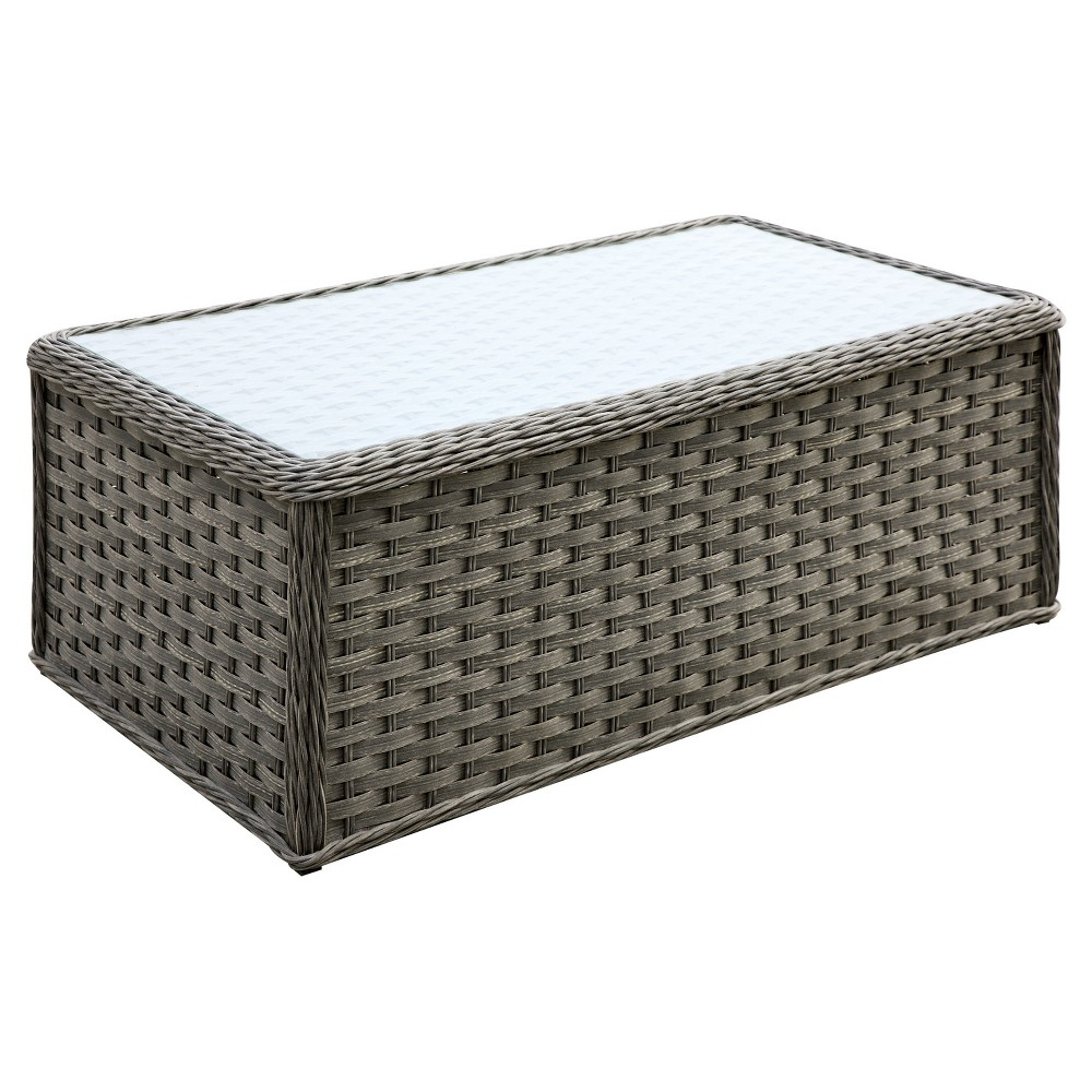 Aleida Rectangle Modern Tempered Glass Top Coffee Table - Furniture of America, Almond Tan
