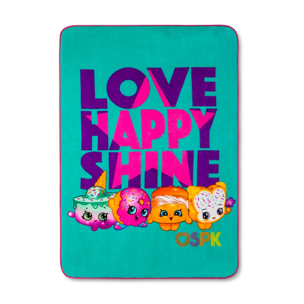 Shopkins Pink & Turquoise Bed Blanket