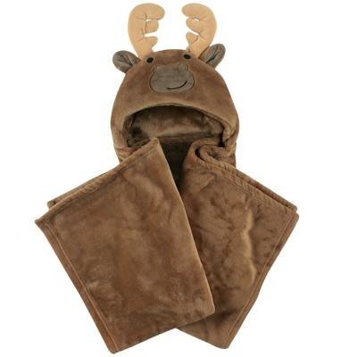 Hudson Baby Infant Boy Hooded Animal Face Plush Blanket, Moose, One Size