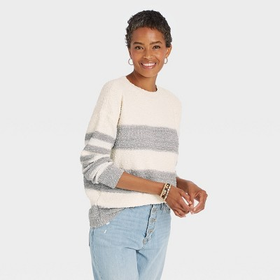 Women's Striped Long Sleeve Pullover Sweater - Knox Rose™