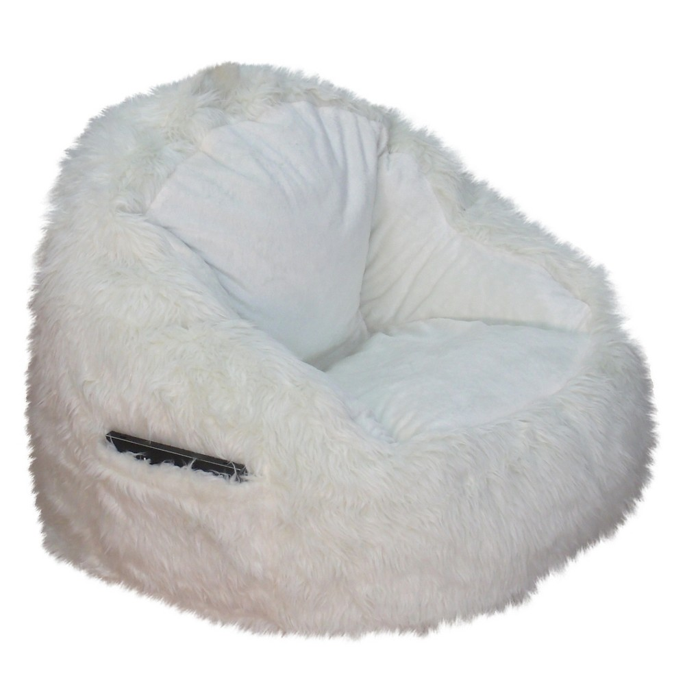 Faux Fur Bean Bag Structured Chair with Pocket Cream (Ivory) - Reservation Seating