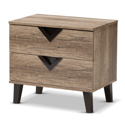 Swanson Modern And Contemporary Wood 2 Drawer Nightstand Light Brown Baxton Studio