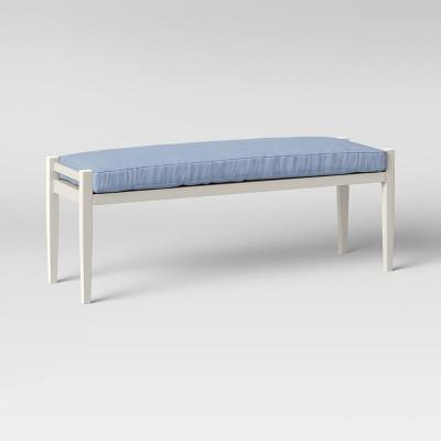 Fairmont Metal Patio Dining Bench - White/Chambray - Threshold™
