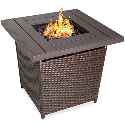 Best Choice Products 28in Fire Pit Table 50,000 BTU Outdoor Wicker Patio w/ Glass Beads	Cover	Tank Holder