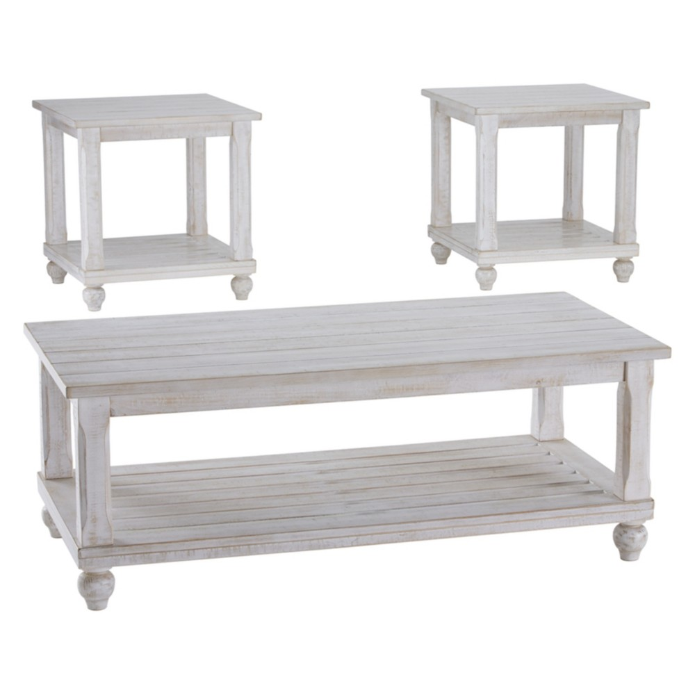 Set of 3 Cloudhurst Occasional Table Set White - Signature Design by Ashley