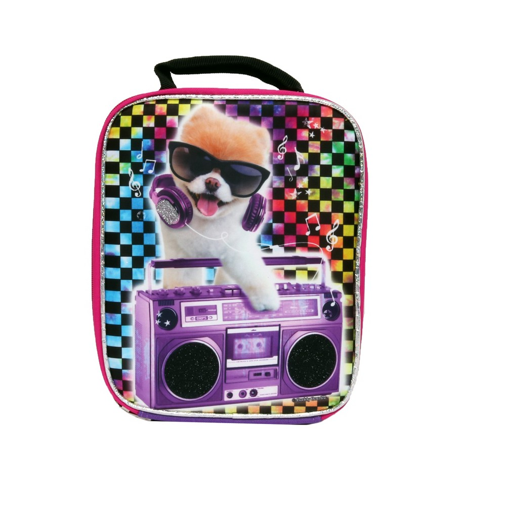 Image of Boo the Dog Rocks Lunch Tote - Red/Blue/Purple, Black