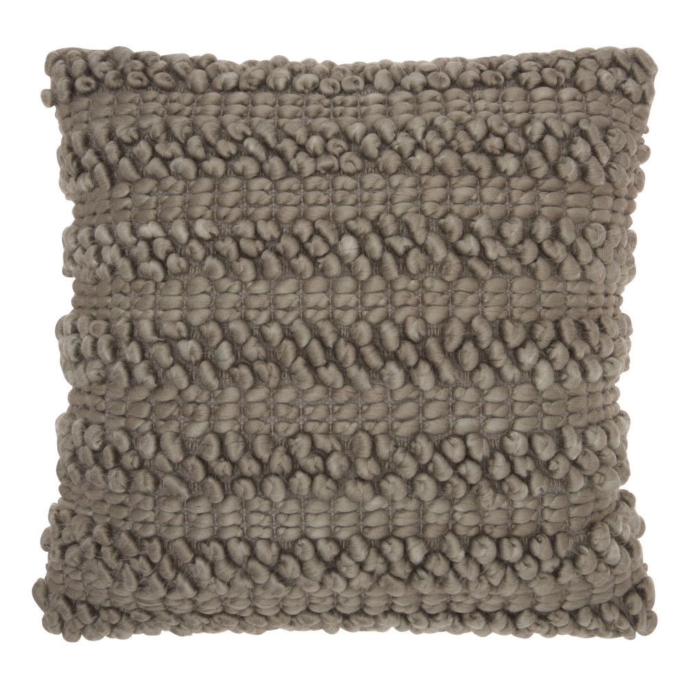 Image of Gray Solid Throw Pillow - Mina Victory
