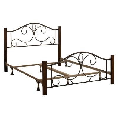 Destin Metal/Wood Bed Set King Textured Brushed Cherry - Hillsdale Furniture