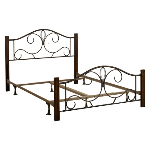 Destin Metal/Wood Bed Set King Textured Black Brushed Cherry Wood ...