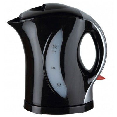 Brentwood 1.7 Liter Cordless Plastic Tea Kettle Black Silver Handle