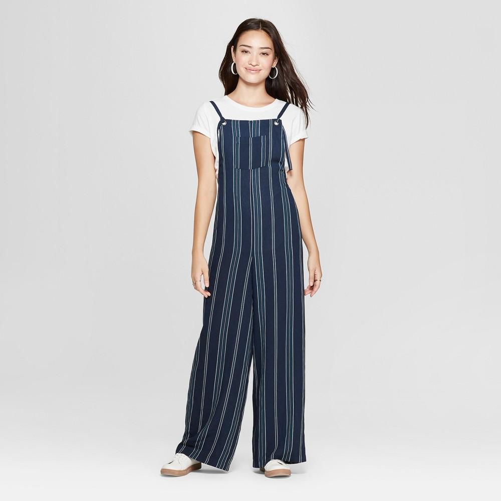 Women's Striped Strappy Jumpsuit - Xhilaration Navy L, Blue