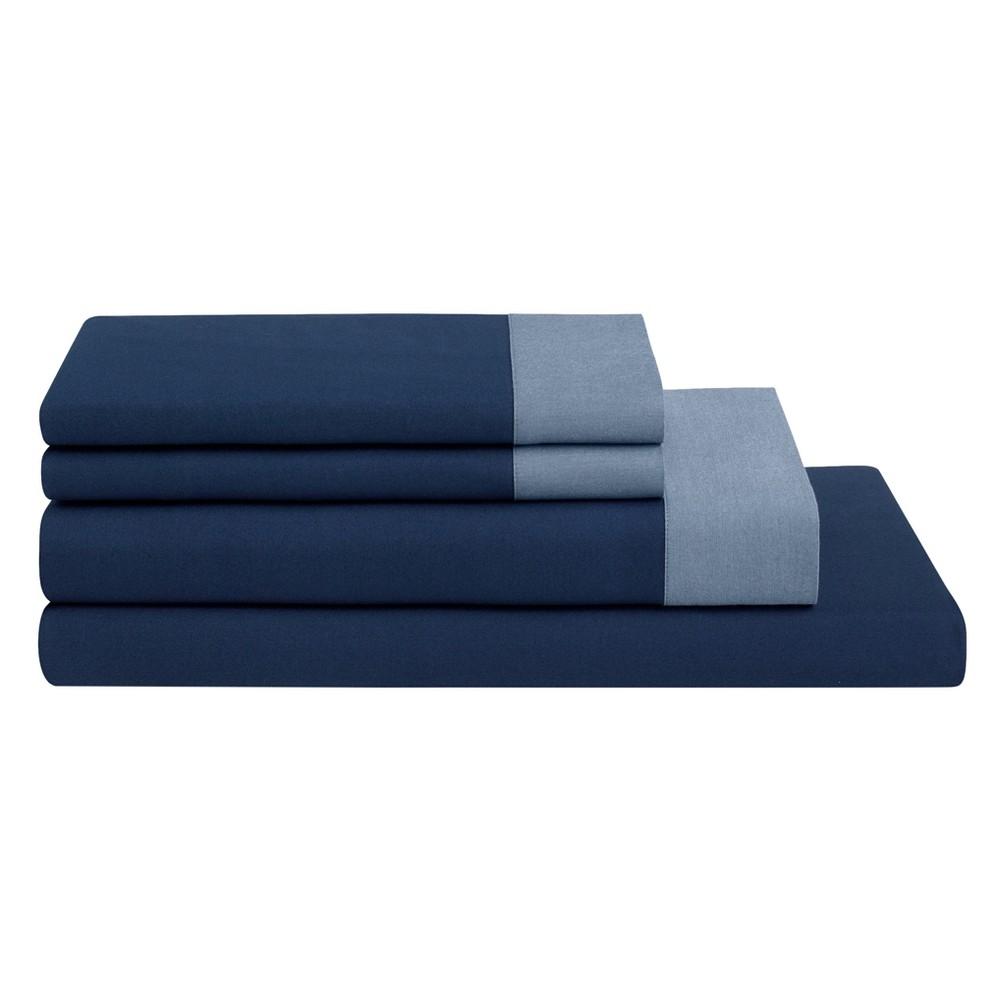 The Casper Sheet Set - Twin Navy/Azure (Blue/Blue)