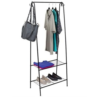 Home Basics 2 Shelf Free-Standing Garment Rack with Hooks, Black